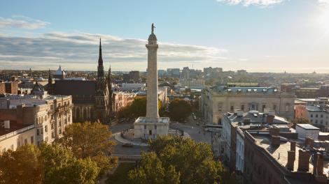 Das Washington Monument im Viertel Mount Vernon von Baltimore, Maryland