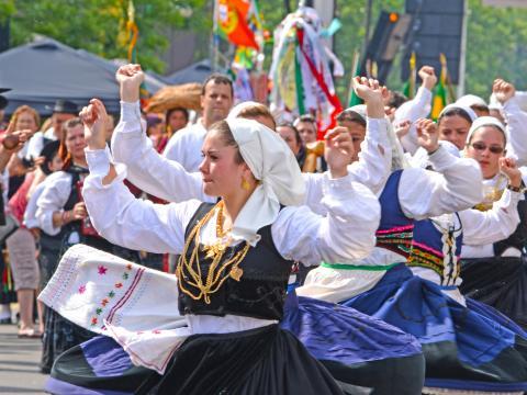Die lebhafte Parade zum Portugal Day