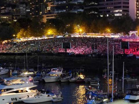 Die neonerleuchtete Zuschauermenge beim Waterfront Blues Festival