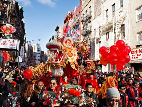 Der Drache am Kopf der Lunar New Year Parade