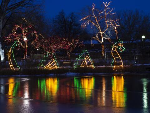 """Ein beleuchteter Drachen beim Lichterfest """"ZooLights"""" im Lincoln Park Zoo"""