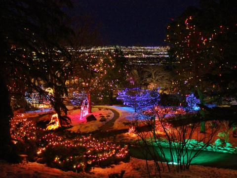 Cheyenne Mountain Zoo glowing during the Electric Safari