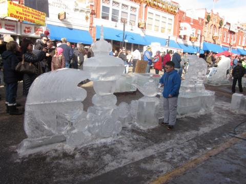 An icy sculpture from Cripple Creek Ice Festival