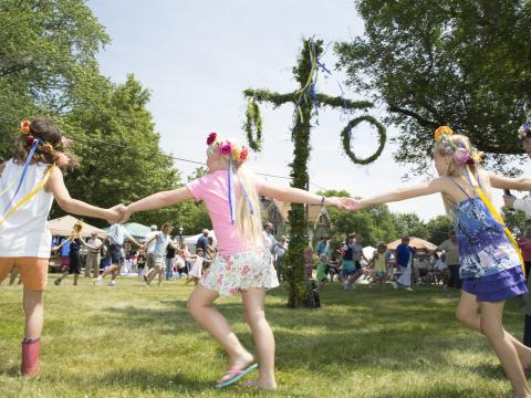 Children at play at the annual Midsommar Fest