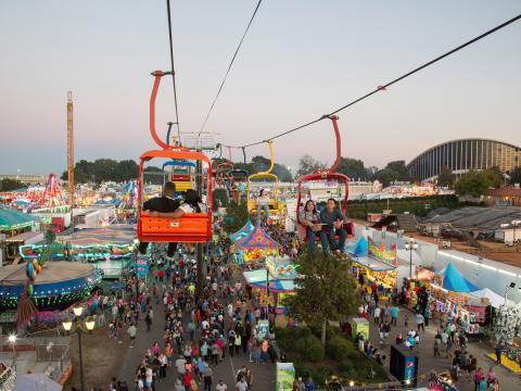 Blick von oben auf die North Carolina State Fair in Raleigh